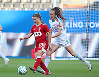 Davinia Vanmechelen (10) of Standard and Sari Kees (2) of OHL in action during a female soccer game between Oud Heverlee Leuven and Standard Femina de Liege on the third matchday of the 2021 - 2022 season of Belgian Womens Super League , Sunday 5 th of September 2021  in Leuven , Belgium . PHOTO SPORTPIX.BE | SEVIL OKTEM