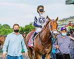 JUNE 06, 2020 : Vekoma with Javier Castellano aboard, wins the Grade 1 Carter Handicap, going 7 furlongs, at Belmont Park, Elmont, NY.  Sue Kawczynski/Eclipse Sportswire/CSM