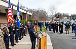 WATERTOWN, CT-123020JS17- Watertown Police Chief John Gavallas address friends, family supporters and fellow officers during a send-off parade and ceremony in his honor Wednesday at the Watertown Police Department. Chief Gavallas has served for 51 years. <br /> Jim Shannon Republican-American
