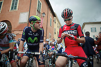 2013 Giro d'Italia.stage 13: Busseto - Cherasco ..former teammates Alex Dowsett (GBR) & Taylor Phinney (USA) catch up