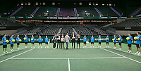 Rotterdam, The Netherlands. 16.02.2014. General rehearsal for the prize giving ceremony,  ABN AMRO World tennis Tournament<br /> Photo:Tennisimages/Henk Koster