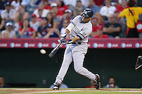 Bobby Abreu of the New York Yankees during a 2007 MLB season game against the Los Angeles Angels at Angel Stadium in Anaheim, California. (Larry Goren/Four Seam Images)