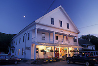 AJ4540, country store, Vermont, The full moon rises above the Village Store in the evening in the town of Marshfield in Washington County in the state of Vermont.
