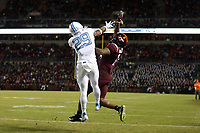 BLACKSBURG, VA - OCTOBER 19: Storm Duck #29 of the University of North Carolina breaks up a pass attempt to Damon Hazelton #14 of Virginia Tech during a game between North Carolina and Virginia Tech at Lane Stadium on October 19, 2019 in Blacksburg, Virginia.