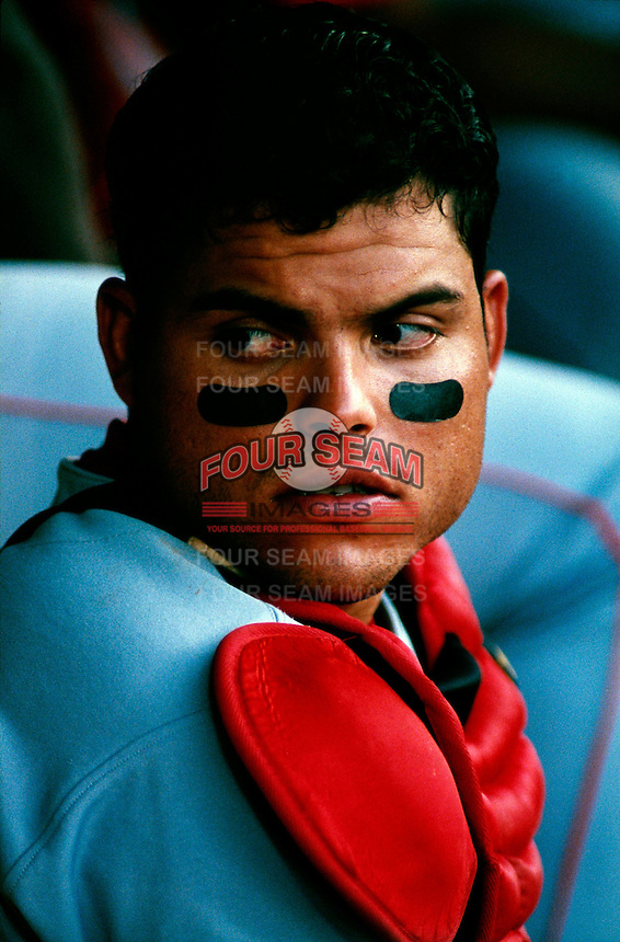 Ivan Rodriguez of the Texas Rangers plays in a baseball game at Edison International Field during the 1998 season in Anaheim, California. (Larry Goren/Four Seam Images)