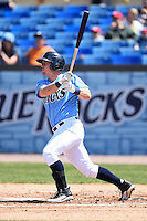 Wilmington Blue Rocks designated hitter Zane Evans (39) during a game against the Myrtle Beach Pelicans on April 27, 2014 at Frawley Stadium in Wilmington, Delaware.  Myrtle Beach defeated Wilmington 5-2.  (Mike Janes/Four Seam Images)