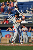 Aberdeen Ironbirds shortstop Alejandro Juvier (6) at bat during a game against the Batavia Muckdogs on July 14, 2016 at Dwyer Stadium in Batavia, New York.  Aberdeen defeated Batavia 8-2. (Mike Janes/Four Seam Images)