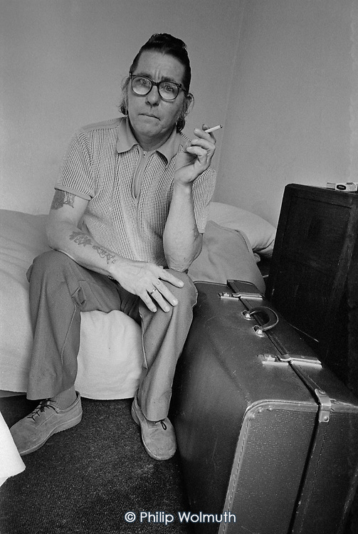 Temporary resident at a Simon Community hostel, Kings Cross, London 1990.