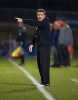 Maryland head coach Sasho Cirovski calls for a substitute during the game at the Maryland SoccerPlex in Germantown, MD. Maryland defeated Clemson, 1-0, in overtime.  With the win the Terrapins advanced to the finals of the ACC men's soccer tournament.