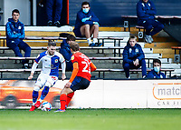 21st November 2020; Kenilworth Road, Luton, Bedfordshire, England; English Football League Championship Football, Luton Town versus Blackburn Rovers; Harvey Elliott of Blackburn Rovers trying to pass Kiernan Dewsbury-Hall of Luton Town on the inside
