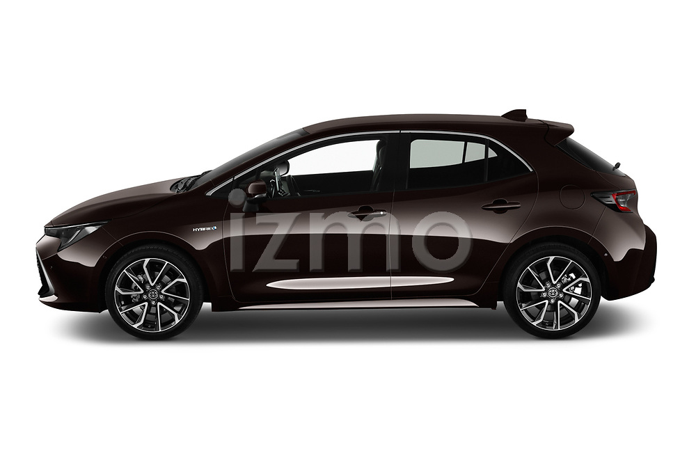 Car Driver side profile view of a 2019 Toyota Corolla-Hybrid Premium 5 Door Hatchback Side View
