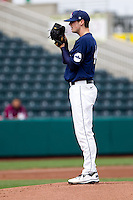 Bryce Smolen (44) of the Oral Roberts Golden Eagles looks for the pitch sign during a game against the Missouri State Bears on March 27, 2011 at Hammons Field in Springfield, Missouri.  Photo By David Welker/Four Seam Images