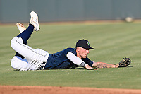 Second baseman Chandler Avant (5) of the Columbia Fireflies knocks his glasses off as he lunges for a grounder in a game against the Augusta GreenJackets on Saturday, June 1, 2019, at Segra Park in Columbia, South Carolina. Columbia won, 3-2. (Tom Priddy/Four Seam Images)