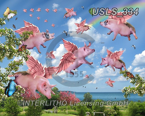 Lori, REALISTIC ANIMALS, REALISTISCHE TIERE, ANIMALES REALISTICOS, zeich, paintings+++++When Pigs Fly_2,USLS334,#a#, EVERYDAY ,puzzle,puzzles