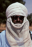 Niamey, Niger - Tuareg Man, Veil Covering Mouth, as is the Tuareg Custom.