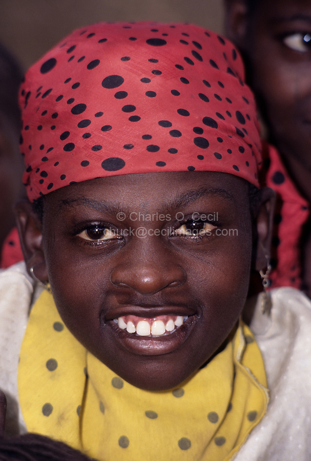 Madarounfa, Niger, West Africa.  Young Hausa Woman with Headscarf.