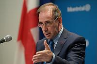 Conference de presse, Real menard<br /> , le 30 avril 2014 a l' hotel de ville<br /> <br /> PHOTO D'ARCHIVE: agence Quebec Presse