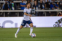 SAN JOSE, CA - AUGUST 13: Russell Teibert #31 of the Vancouver Whitecaps dribbles the ball during a game between San Jose Earthquakes and Vancouver Whitecaps at PayPal Park on August 13, 2021 in San Jose, California.