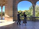 Spain - Barcelona - A couple dances swing at the Parc de la Ciutadella, in the heart of Barcelona.
