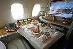 10.06.2010, ILA Internationalen Luftfahrt-Ausstellung ,Flughafen Schönefeld Berlin, GER, im Bild Innenansichtes der First Class des Airbus A380 der Emirates Foto © nph / Hammes