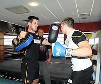 Photo: Tony Oudot/Richard Lane Photography. London Wasps train at the Hooks Gym in Acton. 12/03/2012. Wasps box, Hugo Southwell.