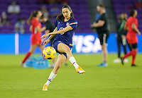 ORLANDO CITY, FL - FEBRUARY 18: Christen Press #23 of the United States warming up during a game between Canada and USWNT at Exploria Stadium on February 18, 2021 in Orlando City, Florida.