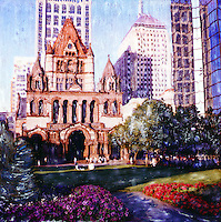 Warm sunlight fills Copley Plaza and highlights Trinity Church. People sit under the shade to enjoy the afternoon.<br /> <br /> - Limited Edition of 50 Prints
