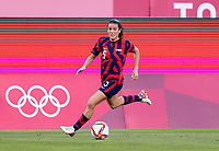 KASHIMA, JAPAN - AUGUST 5: Kelley O'Hara #5 of the USWNT dribbles the ball during a game between Australia and USWNT at Kashima Soccer Stadium on August 5, 2021 in Kashima, Japan.