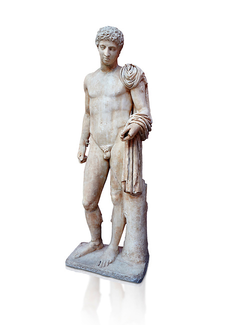Roman marble statue of Hermes found at Aigion, Pelopenese. 27 BC - 14 AD. Athens Archaeological Museum Cat No 241. Against white, <br /> <br /> Hermes is depicted standing wearing a chalamys that is wound around his lest arm. In his right hand he holds a purse and in his left a 'caduceus'. Augustan Roman period