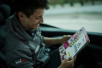 Esteban Chavez (COL/Mitchelton-Scott) happy with his new Panini sticker book<br /> <br /> Stage 8: Tortoreto Lido to Pesaro (239km)<br /> 102nd Giro d'Italia 2019<br /> <br /> ©kramon