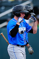 Hudson Valley Renegades designated hitter Alex Schmidt (4) celebrates after hitting a home run during a game versus the Lowell Spinners at Lelacheur Park on August 30, 2015 in Lowell, Massachusetts.  (Ken Babbitt/Four Seam Images)