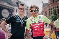 race organiser Nick Nuyens with former teammate at QuickStep Filippo 'Pipo' Pozzato (ITA/Wilier Triestina-Selle Italia) at the race start in Aarschot<br /> <br /> 3rd Dwars Door Het hageland 2018 (BEL)<br /> 1 day race:  Aarschot > Diest: 198km
