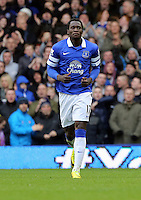 Pictured: Romelu Lukaku of Everton is celebrating his goal. Saturday 22 March 2014<br /> Re: Barclay's Premier League, Everton v Swansea City FC at Goodison Park, Liverpool, UK.