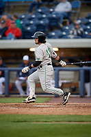 Clinton LumberKings designated hitter Joe Rizzo (10) follows through on a swing during a game against the West Michigan Whitecaps on May 3, 2017 at Fifth Third Ballpark in Comstock Park, Michigan.  West Michigan defeated Clinton 3-2.  (Mike Janes/Four Seam Images)