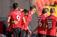 Lincoln City's Adam Jackson, centre, celebrates scoring his side's second goal with team-mates Tom Hopper, left, and Lewis Montsma<br /> <br /> Photographer Chris Vaughan/CameraSport<br /> <br /> The EFL Sky Bet League One - Saturday 12th September 2020 - Lincoln City v Oxford United - LNER Stadium - Lincoln<br /> <br /> World Copyright © 2020 CameraSport. All rights reserved. 43 Linden Ave. Countesthorpe. Leicester. England. LE8 5PG - Tel: +44 (0) 116 277 4147 - admin@camerasport.com - www.camerasport.com - Lincoln City v Oxford United