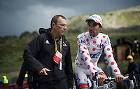 Thibaut Pinot (FRA/FDJ) is the new polka dot jersey wearer after being in the attack for most of the day<br /> <br /> finish of stage 9 in Andorra Arcalis (coming from Velha Val d'Aran/ESP, 184km)<br /> 103rd Tour de France 2016