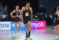 NZ Men goalshoot Junior Levi during the Cadbury Netball Series final between NZ Silver Ferns and NZ Men at the Fly Palmy Arena in Palmerston North, New Zealand on Saturday, 24 October 2020. Photo: Dave Lintott / lintottphoto.co.nz