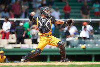 Jacksonville Suns catcher Sharif Othman (6) during the 20th Annual Rickwood Classic Game against the Birmingham Barons on May 27, 2015 at Rickwood Field in Birmingham, Alabama.  Jacksonville defeated Birmingham by the score of 8-2 at the countries oldest ballpark, Rickwood opened in 1910 and has been most notably the home of the Birmingham Barons of the Southern League and Birmingham Black Barons of the Negro League.  (Mike Janes/Four Seam Images)