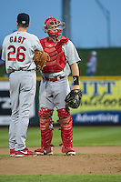 Cody Stanley (21) of the Memphis Redbirds during the game against the Omaha Storm Chasers in Pacific Coast League action at Werner Park on April 24, 2015 in Papillion, Nebraska.  (Stephen Smith/Four Seam Images)
