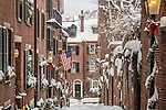 A Christmas storm frosts the townhouses on Acorn Street in the Beacon Hill neighborhood of Boston, MA