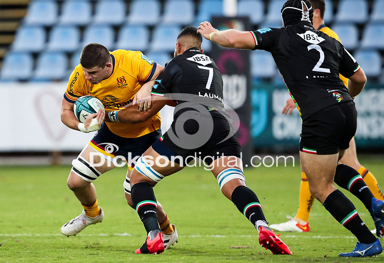 2 October 2021; Nick Timoney of Ulster is tackled by Potu Junior Leavasa of Zebre during the United Rugby Championship match between Zebre and Ulster at Stadio Sergio Lanfranchi in Parma, Italy. Photo by Roberto Bregani/Dicksondigital
