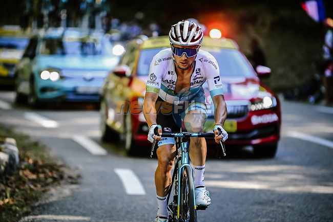Kazakh Champion Alexey Lutsenko (KAZ) Astana Pro Team solos away from his breakaway companions as he climbs Col de la Lusette during Stage 6 of Tour de France 2020, running 191km from Le Teil to Mont Aigoual, France. 3rd September 2020.<br /> Picture: ASO/Pauline Ballet   Cyclefile<br /> All photos usage must carry mandatory copyright credit (© Cyclefile   ASO/Pauline Ballet)