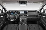 Stock photo of straight dashboard view of 2021 Hyundai Santa-FE Shine 5 Door SUV Dashboard