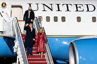 President Trump and the First Lady Travel to Georgia<br /> <br /> President Donald J. Trump and First Lady Melania Trump are escorted from Marine One to Air Force One by U.S. Air Force Col. Stephen Snelson and his wife Catherine Snelson at Joint Base Andrews, Md. Saturday, Dec. 5, 2020, to begin their trip to Georgia. (Official White House Photo by Andrea Hanks)