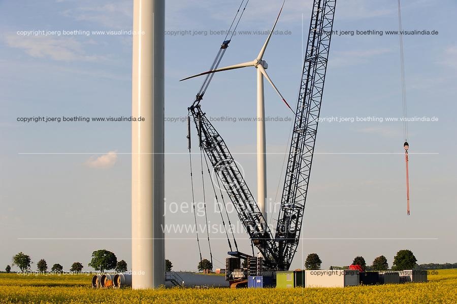 GERMANY Plauerhagen, installation of ENO Windturbine for windfarm of MVV Mannheim / DEUTSCHLAND Mecklenburg Vorpommern, Windpark Plauerhagen, Aufbau von 8 ENO 82  Windkraftanlagen mit 2 MW Nennleistung durch E.N.O energy systems GmbH Rostock fuer Windpark der MVV Stadtwerke Mannheim
