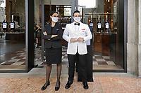 - Milano, giugno 2020, il famoso bar Camparino in Piazza del Duomo dopo il lockdown per l'epidemia di Covid-19<br /> <br /> - Milan, June 2020, the famous Camparino bar in Duomo Square after the lockdown due to the Covid-19 epidemic