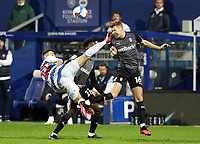 foul by Ilias Chair of Queens Park Rangers on Jamie Lindsay of Rotherham United for a high foot during Queens Park Rangers vs Rotherham United, Sky Bet EFL Championship Football at The Kiyan Prince Foundation Stadium on 24th November 2020