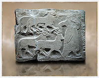 Picture & image of a Neo-Hittite orthostat showing Sacrificial animals being led from Alacahöyük, Alaca Çorum Province, Turkey. Museum of Anatolian Civilisations, Ankara.  Old Bronze age Chalcolithic Period. 4