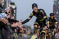 Niki Terpstra (NED/Direct Energie) pre race reaching out for high fives.<br /> <br /> 103rd Ronde van Vlaanderen 2019<br /> One day race from Antwerp to Oudenaarde (BEL/270km)<br /> <br /> ©kramon