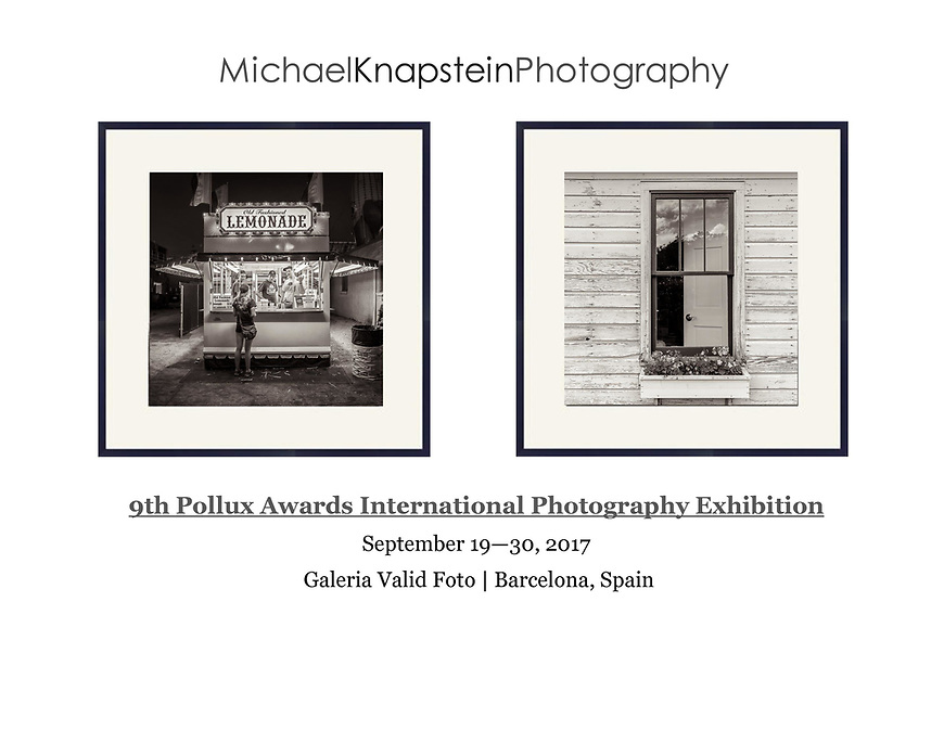 Two international award-winning photographs by Michael Knapstein are included in the Pollux Awards International Photography Exhibition at Galeria Valid Foto in Barcelona, Spain.